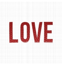 Realistic red paper Word Love vector image