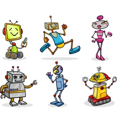 robots or droids cartoon set vector image