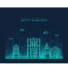 San Diego skyline linear vector