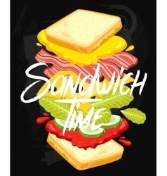 Sandwich on chalkboard vector