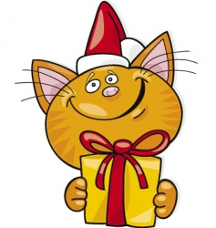 Santa cat with gift vector image vector image