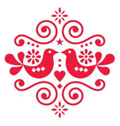 Scandinavian floral folk art design cute vector