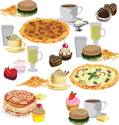 Seamless background of fast food vector