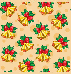 Seamless pattern of christmas bells with leafs vector