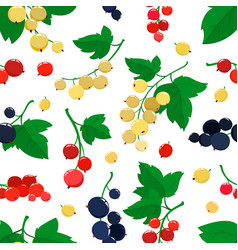 seamless pattern with cartoon currant vector image