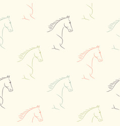 seamless pattern with horses pale pastel colors vector image