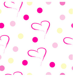 seamless pattern with pink hearts and polka dots vector image