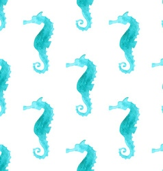 Seamless watercolour sea-horse pattern vector image