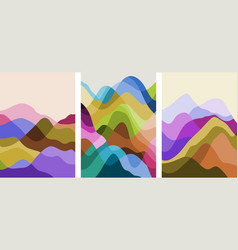 set abstract mountain landscape minimalist vector image