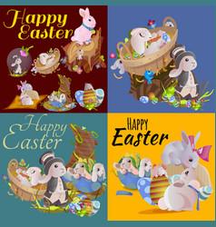 Set easter chocolate egg hunt bunny basket on vector