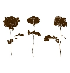 set of decorative rose silhouettes vector image