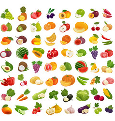 Set of fruits and vegetables fresh food healthy vector
