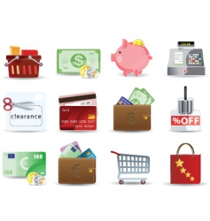 shopping and consumerism icons vector image