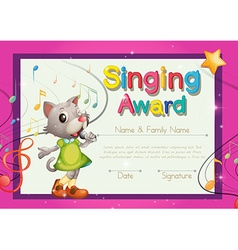 Singing award template with kitten singer vector image