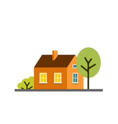 small cartoon orange house with trees isolated vector image