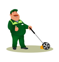Smiling character gardener man cutting grass vector