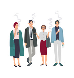 smoking room different office people on smoke vector image