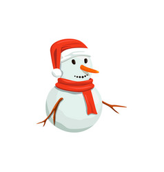 Snowman in red santa hat precious frosty vector