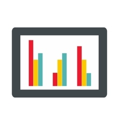 Tablet with charts icon flat style vector image