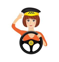 Taxi driver girl holding wheel order a taxi vector