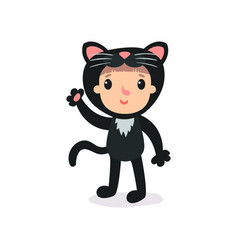 Toddler in plush black cat costume waving by hand vector