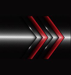 Twin red glossy arrow on silver dark hexagon mesh vector
