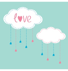 Two clouds with hanging rain drops Love card vector image