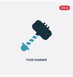 Two color thor hammer icon from weapons concept vector