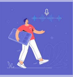 voice assistant and speech recognition mobile app vector image