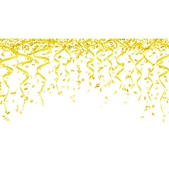 Yellow confetti and ribbons vector