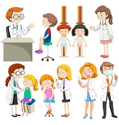 Boys and girls visiting doctors vector image