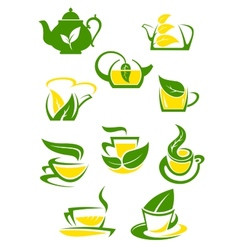 Herbal and lemon tea cup icons vector image vector image