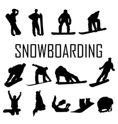 Snowboarder man silhouette vector image vector image