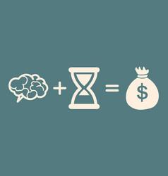 Time brain money profit concept vector