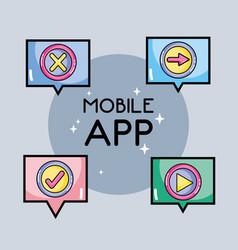 digital mobile app to multimedia information vector image vector image