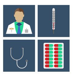 doctor thermometer stergoscopemedical icon vector image vector image