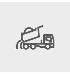 Dump truck thin line icon vector image vector image