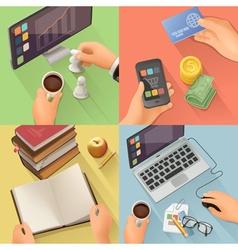 Workplace background flat design set vector image vector image