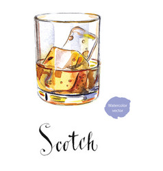 Glass of scotch whiskey brandy with ice cubes vector