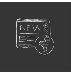 International newspaper Drawn in chalk icon vector image vector image