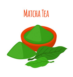 matcha tea drink powder leaves of asian tea vector image