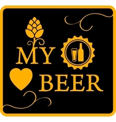 my love beer icon vector image