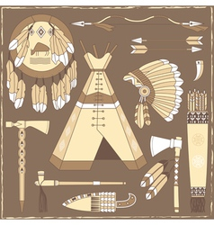 Native American hunting design elements vector image vector image