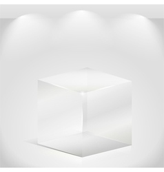 Transparent glass cube vector image vector image