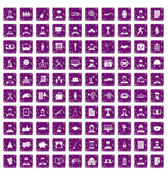 100 career icons set grunge purple vector