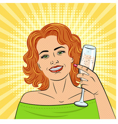a beautiful young woman holds in her hand a glass vector image