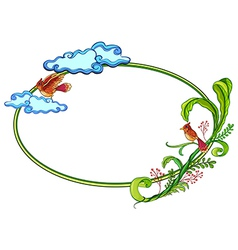 A round border with two birds vector image vector image