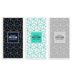 Abstract geometric lines pattern banners set vector