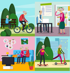 aged elderly people orthogonal composition set vector image