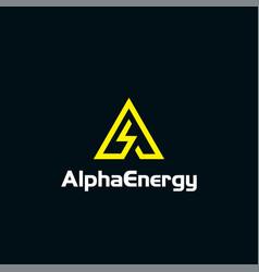 Alpha logo with energy line vector